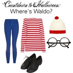 """Countdown to Halloween: Where's Waldo?"" by zerouv on Polyvore: RETRO ROUND SPECTACLES CLEAR LENS GLASSES 8034"