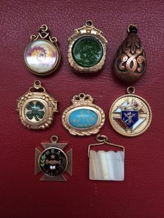 Eight Victorian Fobs Amp Medals for Charm Bracelet or Necklace
