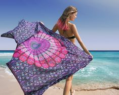 Bohemian Sarong, Mandala Pareo, Bikini Swimsuit Cover Up, Beach Blanket, Wrap Mandala Towel, Blue Lotus, Beach Picnic, Beach Blanket, Flower Of Life, Swimsuit Cover, Swimsuits, Bikinis, Mandala Design