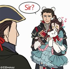 大叔&幼女超俺得啦!!!!!(^p^*))≡((*^p^) Just want to draw loli Arno & Shay (& Haytham) together. I know it's impossible, but I like it.(*´ρ`*)♥♥♥ http://sinzui.tumblr.com/post/95552316523/q-hshs 之前的亞諾子設定~