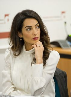 Clooney ditches engagement ring while she's working The Lebanese-British lawyer works for London law firm Doughty Street Chambers and has been.The Lebanese-British lawyer works for London law firm Doughty Street Chambers and has been. Amal Clooney, George Clooney, Human Rights Jobs, Human Rights Lawyer, Lawyer Fashion, Office Fashion, Formal, Style Icons, Jackets