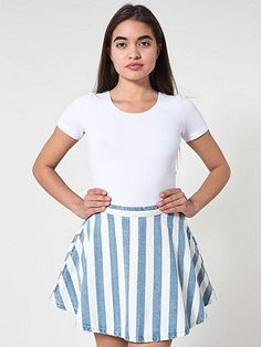 Classic circle skirt featuring an A-line silhouette with vertical blue and white stripes. Includes an invisible zipper and button closure.