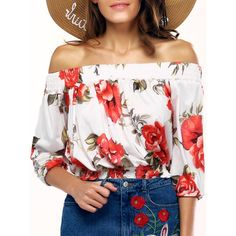 Stylish Off The Shoulder Floral Print Blouse For Women, WHITE, S in Blouses…