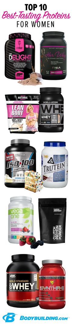 10 Best-Tasting Protein Powders For Women. Looking for the best-tasting protein powders to squash your sweet cravings and build your lean, sexy physique? This article has our top 10! Bodybuilding.com #totalbodytransformation