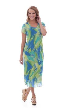 Parsley & Sage 6T51D1 Candace Dress S Sleeve Chiffon Green Blue print NWT L-3X #ParsleySage #Daydress #Daydress