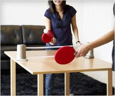 Perfectly portable ping pong tennis game for play anywhere in room or even in office!