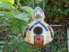 Hand painted Birdhouse Gourd