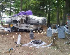25 Wonderful RV Camping Design Ideas For Summer Vacation Halloween Camping Decorations, Outdoor Halloween, Fall Decorations, Camping And Hiking, Rv Camping, Camping Ideas, Glamping, Backpacking, Campsite Decorating
