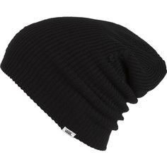 Vans Boast Beanie ($13) ❤ liked on Polyvore featuring accessories, hats, beanies, hair, black, vans hat, black beanie hat, black beanie, beanie hats and black hat