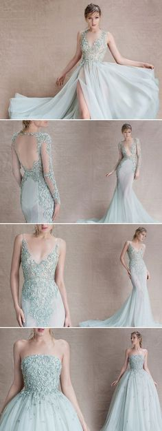 light blue lace wedding dress styles for 2016