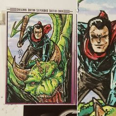 """SilverbaX (@silverbaxink) on Instagram: """"Okay this #sketchcard is unique #negan from #TWD on a #dragon from #got . Don't see that everyday."""" / lup says *blasts Two Steps From Hell 'Dragon Rider'* XD"""