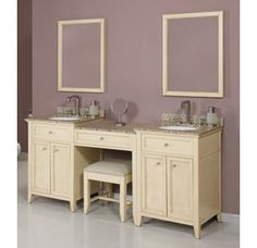 "View the DecoLav Jordan-88 88"" Double Vanity with 1 Drawer Bridge and Vanity Stool. Choose Vanity Tops, Sinks, and Mirrors.  at Build.com."