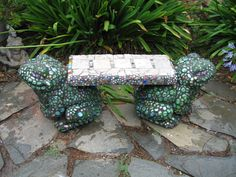 mosaic frog bench by s. knopp