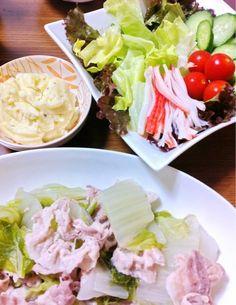 マッシュドポテト、マヨネーズ入れすぎた… - 1件のもぐもぐ - マッシュドポテト、サラダ、白菜と豚肉のミルフィーユ by satoforza