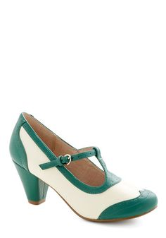 Gallery Opener Heel in Jade by Chelsea Crew - Mid, Faux Leather, Solid, Vintage Inspired, 20s, 30s, Better, T-Strap, Green, Tan / Cream, Var...--Modcloth.com
