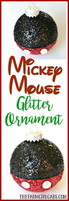 Disney Christmas Craft |  Easy DIY Mickey Mouse Glitter Ornament | #DisneyCraft