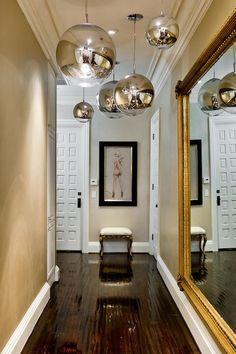 entrances/foyers - Tom Dixon Mirror Ball, foyer hall, foyer hallway, long hall, long hallway, foyer lighting, foyer pendants, gold mirror, b...