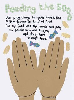 Flame: Creative Childrens Ministry: Feeding the 5000 Play Dough Prayer Mat to Print Ou. Preschool Bible Lessons, Bible Crafts For Kids, Bible Lessons For Kids, Bible Activities, Sabbath Activities, Kids Bible, Church Activities, Sensory Activities, Sunday School Activities