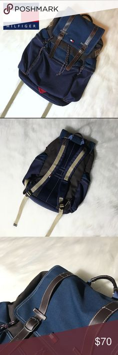 Tommy Hilfiger Backpack TOMMY HILFIGER | Rucksack Backpack | Trendy Old School 90s Vintage | Street Style | Blue and Brown | Great for Traveling Adventure School Hiking Multi Purpose | Great Condition No Flaws | Men's and Women's | Like Patagonia North Face Vans Adidas Gucci Hollister Tommy Hilfiger Bags Backpacks