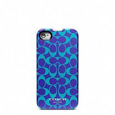 Coach leather iphone case. Peacock blue/purple @erica morris
