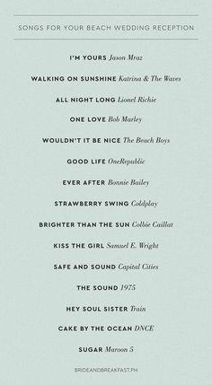 Beach Theme Wedding Songs Country - 15 fun songs you can play at your beach wedding reception Wedding Entrance Songs, Wedding Song List, Wedding Playlist, Beach Wedding Reception, Reception Party, Wedding Games, Wedding Music, Dream Wedding, Wedding Ideas