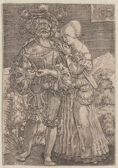 1500-1600 Vinck, Jacob, 1500-1569 (engraver) soldate et sa maitresse. One of a collection of illustrations of Austrian soldiers. Woman leaning on shoulder of soldier.  Copyright - Anne S.K. Brown Military Collection at Brown University.