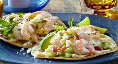 Recipe - chefaaronsanchez.com  Shrimp Aguachile Tostaditas