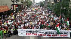 Huge march for Gaza in Chisago, USA - August 2014