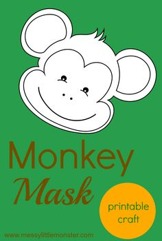 Make a monkey mask craft for kids using our free printable monkey template. This is suchs a fun way to get involved in the Booktrust Time to Read Campaign. Craft Activities For Kids, Preschool Crafts, Vbs Crafts, Printable Crafts, Free Printable, Monkey Template, Jungle Crafts, Jungle Theme Classroom, Monkey Mask