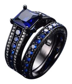 JUNXIN Geometric Blue Ring Sets Black Gold Filled Crystal Sapphire Jewelry Vintage Wedding Rings For Women Bague Femme Black Wedding Ring Sets, Sapphire Wedding Rings, Wedding Rings Vintage, Sapphire Jewelry, Wedding Rings For Women, Wedding Sets, Rings For Men, Goth Wedding Ring, Kids Rings