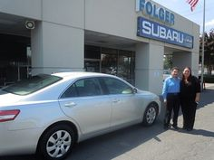 Folger Subaru Internet Sales Consultant Kristen Shaffer with Mr. Angulo and his 2010 Toyota Camry sedan!