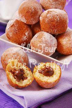 Humm, la recette du 20 Janvier sur Un jour, une recette :  Beignets au nutella