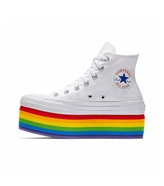 Pride outfit - 23 Stylish Pieces That Support LGBTQ+ Rights With Every Purchase – Pride outfit Dr Shoes, Cute Shoes, Me Too Shoes, Rainbow Shoes, Rainbow Outfit, Rainbow Clothes, Rainbow Converse, Rainbow Sneakers, Rainbow Stuff