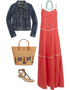 I love how simple and colorful the dress is.  Bonus is to pair it with the jean jacket for fall! Necklace is cute too