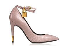 Python pump with ankle strap and signature golden ankle lock, key and heel tip.   Has my heart under lock and key sick shoe