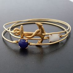 Nautical Bracelet Set, Sailor Ahoy Nautical Bangle Bracelets, Nautical Jewelry, Gold, White, Navy Blue, Ocean Bracelet, Ocean Themed Jewelry