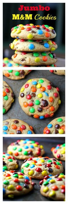 JUMBO 'Soft Batch' M&M  Cookies - JUMBO 'Soft Batch' M&M  Cookies - These rainbow JUMBO cookies have 2 secret ingredients! Pudding and butter extract. So you get, soft, thick, fluffy and buttery cookies loaded with M&Ms and chocolate chips. I think I can live with that! :) via @https://www.pinterest.com/BaknChocolaTess/