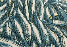 "Thayer Carter,Fish, 2014 woodcut print 11"" x 7.75"""