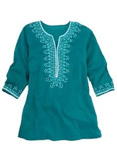 Tunic top with sequin embroidery by Chelsea Studio® | Plus Size Tops & Tees | Woman Within