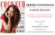 Coco Eco Magazine's launch party tonight! Proceeds from tonight's event go to benefit #Redcarpetgreendress and #recycleacrossamerica ! Read here for more info: http://www.houseofgratiaetcaritas.com/blog/beauty/around-town-la-earth-rocks-eco-friendly-shopping-and-eco-coco-magazine-launch-at-ronrobinson  #houseofgandc #aroundtownla #shoppingevent #charityevent #ecofriendly #accessories #apparel #teeki #thegivingkeys #earthtuface #beauty #qqwatches #ronrobinson #ecococoamagazine #launchparty
