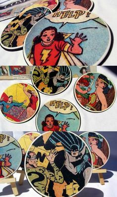 If you are looking for unique crafts for men, these DIY comic book coasters are perfect. Use materials right from the hardware store! via @modpodgerocks