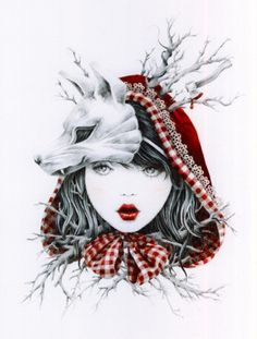 "Little Red Ridding Hood - ""Courtney Brims is an illustrator based out of Brisbane, Australia. She grew up heavily inspired by Tim Burton, Hayao Miyazaki, as well as other fantasy elements. Art And Illustration, Victorian Illustration, Food Illustrations, Velociraptor Tattoo, Red Ridding Hood, Arte Sketchbook, Image Manga, Red Hood, Art Plastique"