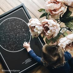 Choose a date, time and place that is unique to you and create your map of the Stars! A great way to personalize your home! Beautiful photo by ❤️ ! Sky Nursery, Star Chart, Basement Apartment, Night Skies, Create Yourself, Rooms, Map, Stars, Unique