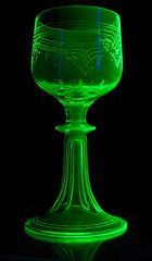 Uranium wine glass (sempervirens) Tags: vienna light black green glass austria wine antique blacklight uranium radioactive wineglass fluorescence bohemian vaseline austrian wein vaselineglass uraniumglass