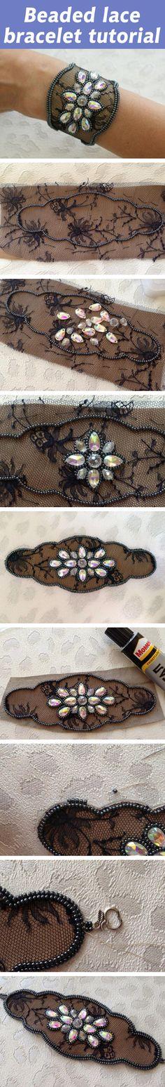 Beaded lace bracelet tutorial