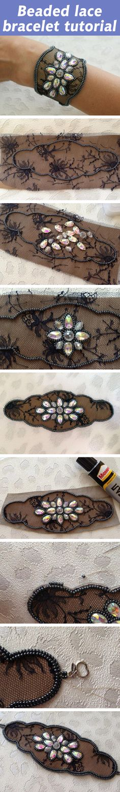 Beaded lace bracelet tutorial