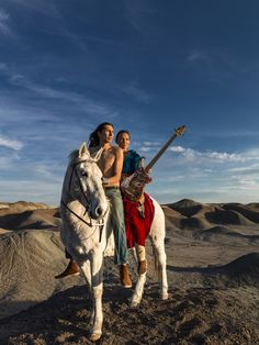 CAMERON, ARIZONA, 16 APRIL 2014: Navajo Punk rock band Sihasin is seen with their horse Moonshadow in a canyon in Cameron, Arizona. Sihasin comes from a long tradition of protest music and expouses traditional Navajo values to their audience. (Photo by Brent Stirton/Reportage for Le Figaro Magazine.)
