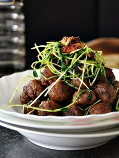Lamb Meatballs, Snow Pea Sprouts with Shacha Sauce