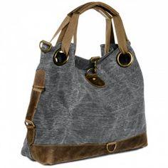 CASPAR Damen Vintage Freizeit Tasche / Ledertasche / Umhängetasche mit stylischem Canvas / Leder Mix - viele Farben - TL675 001