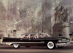 Classic Car Art For Vintage Ads :: 1959 Imperial LeBaron Chrysler Lebaron, Chrysler Cars, Le Baron, Chrysler Imperial, Pontiac Bonneville, Car Illustration, Car Advertising, Ad Art, Us Cars